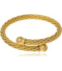 bracelete boca santa semijoias grego em aço inox amarelo unisex