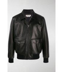 alexander mcqueen pocket detail leather jacket