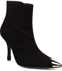 viktoria radar suede / silver toe cap boot shoes boots ankle boots ankle boot - heel svart flattered