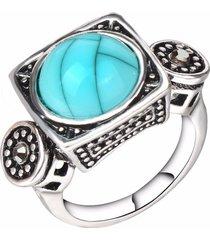 anello di barretta di modo blu turchese cristallo geometrico antico argento anelli gioielli etnici per gli uomini