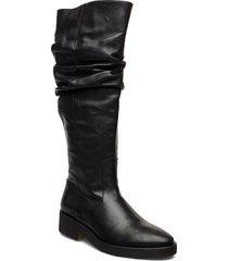 booties - flat - with zipper höga stövlar svart angulus