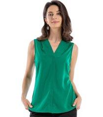blusa pinzas hombros verde nicopoly