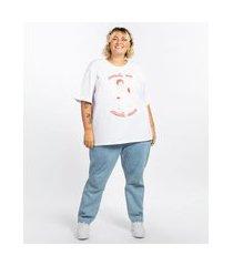 t-shirt feminina plus size mindset obvious oversized estátua manga curta decote redondo branca