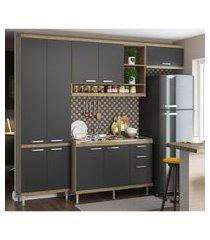 cozinha compacta completa multimóveis com 4 peças sicília 5840 argila/grafite