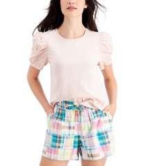 style & co cotton eyelet puff-sleeve top, created for macy's