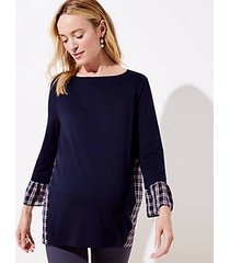 loft maternity plaid mixed media bell cuff sweatshirt