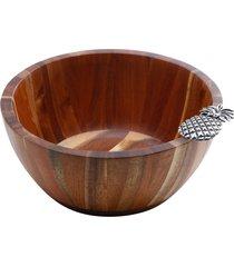 saladeira de madeira kalk 25x25x11cm – linha abacaxi prata