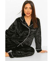 geplet fluwelen pyjama set met knopen, black
