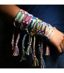 braccialetto di fascino della boemia tessuto a mano nappe colorate braccialetti di gioielli artigianali enthic fatti a mano per le donne