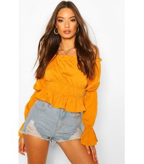 off the shoulder puff sleeve top, mustard