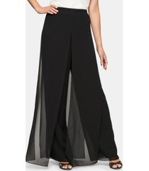 alex evenings petite chiffon-overlay pants