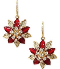 charter club gold-tone crystal poinsettia drop earrings, created for macy's