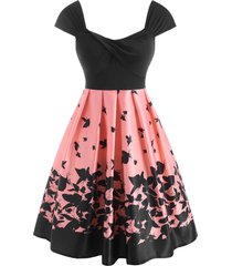 butterfly print twisted high waisted dress