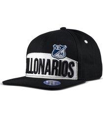 gorra oficial plana negra millonarios otocaps fmic-006 azul negra