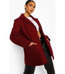 oversized nepwollen jas met schouderpads, bordeauxrood