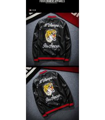 men jacket ma1 flight bomber coat synthetic pu leather embroidered tiger outwear