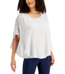 jm collection crochet-trim poncho top, created for macy's