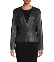 v-neck faux leather jacket