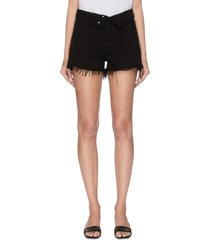 x lane crawford logo embroidered frayed cuff shorts