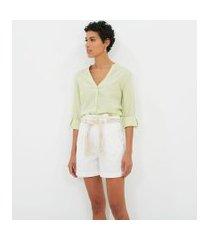 camisa manga longa lisa com decote v | marfinno | verde | pp