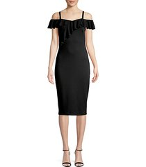 cold-shoulder ruffle sheath dress