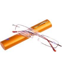 custodia a tubo di occhiali da lettura pieghevole con manico metallico portabile