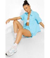 katoenen poplin blouse met korte mouwen en shorts, azure