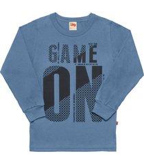 camiseta livy inverno game on ãndigo - azul - menino - dafiti