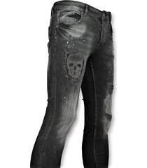 addict skinny jeans met patches heren zwart