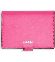 ganni women's leather snap wallet - shocking pink