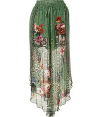 camilla sheer-layered silk skirt - green