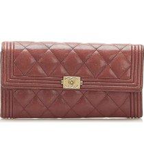 chanel le boy lambskin leather long wallet red, bordeau sz: