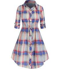 plus size plaid roll up sleeve drawstring shirt dress