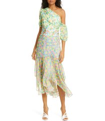 women's amur jaylah floral one-shoulder silk dress