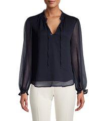 tommy hilfiger women's splitneck crinkle chiffon blouse - midnight - size l