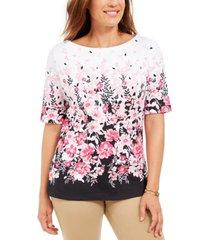 karen scott floral-print boat-neck top, created for macy's