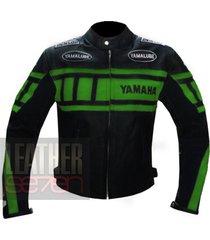 yamaha 0120 green leather motorcycle motorbike pure cowhide  jacket coat