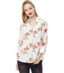 blusa print iii mujer flores blanco corona