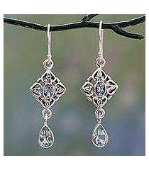 blue topaz dangle earrings, 'regal in blue' (india)