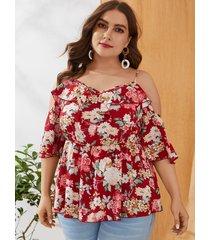 blusa con hombros descubiertos y estampado floral con estampado floral de talla grande de yoins
