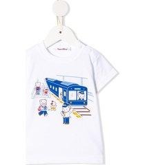 familiar train-print crew neck tracksuit set - white