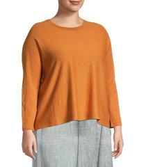 eileen fisher women's plus crewneck linen-blend top - bright sandstone - size 1x (14-16)