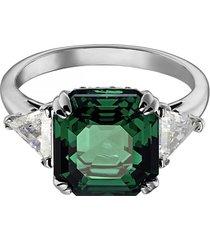 anillo de cóctel attract, verde, baño de rodio