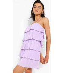 geplooide swing jurk met laagjes en bandjes, lilac