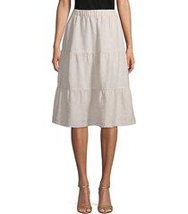 tiered linen knee-length skirt