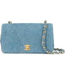 chanel pre-owned chain shoulder bag denim 85-93's - blue