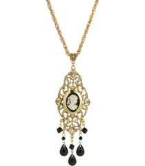 2028 women's gold tone black oval cameo locket necklace