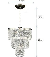 .lustre pendente de cristal acrãlico alto brilho 30x70 lina design ac18 - prata - dafiti