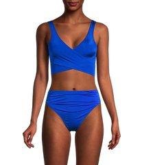 stella mccartney women's self-tie bikini top - blue - size xs