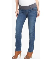 women's maternal america maternity skinny jeans, size small - blue